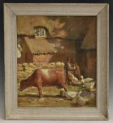 Early 20th Century English School, An Impression, Farmyard with Cow and Geese,