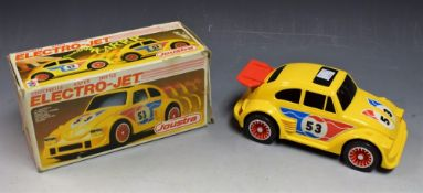 A French Joustra Toys Electro Jet battery powered Beetle racing car, No 3888, yellow body,