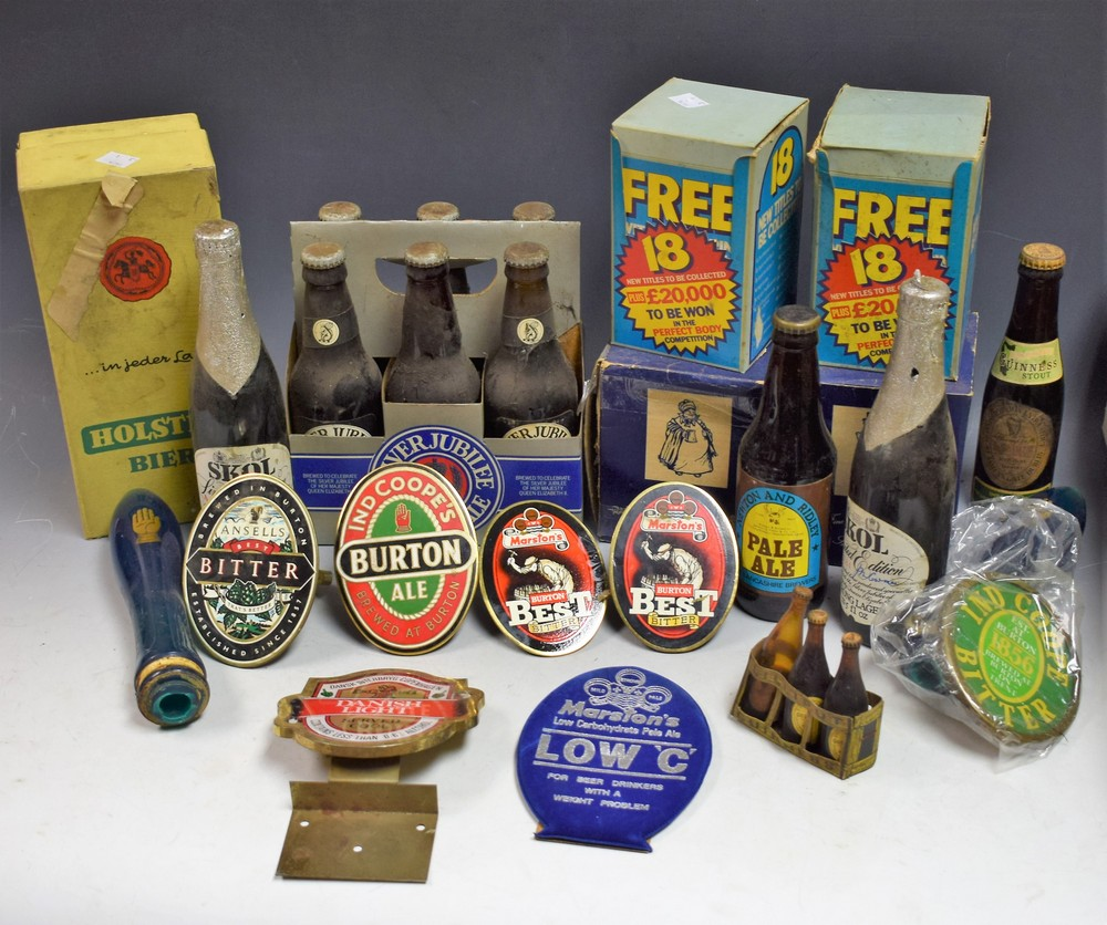 Lot 5026 - Breweriana - advertising pump clips, Marston's, Ansells, Ind Coope,