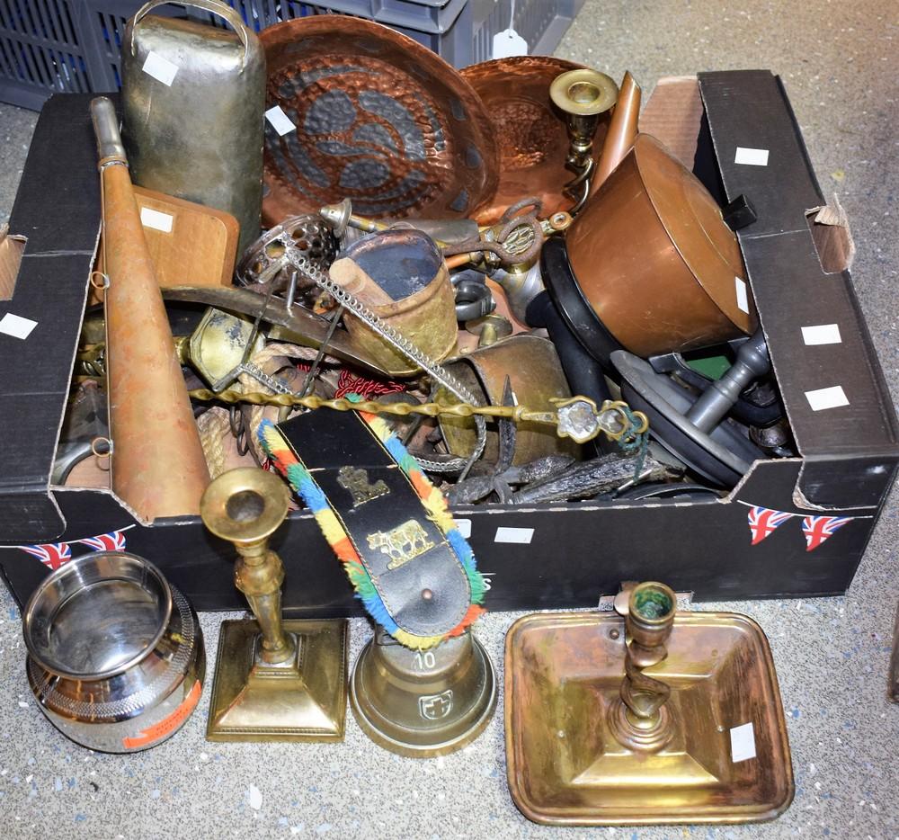 Lot 5055 - Metalware - Victorian brass candlesticks; a pewter chamber stick; cow bells; a copper teapot;