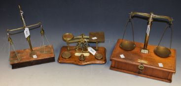 A set of 19th century apothecary scales, glass pans,