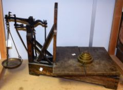A 19th century scales, oak framed, dove tailed joints,