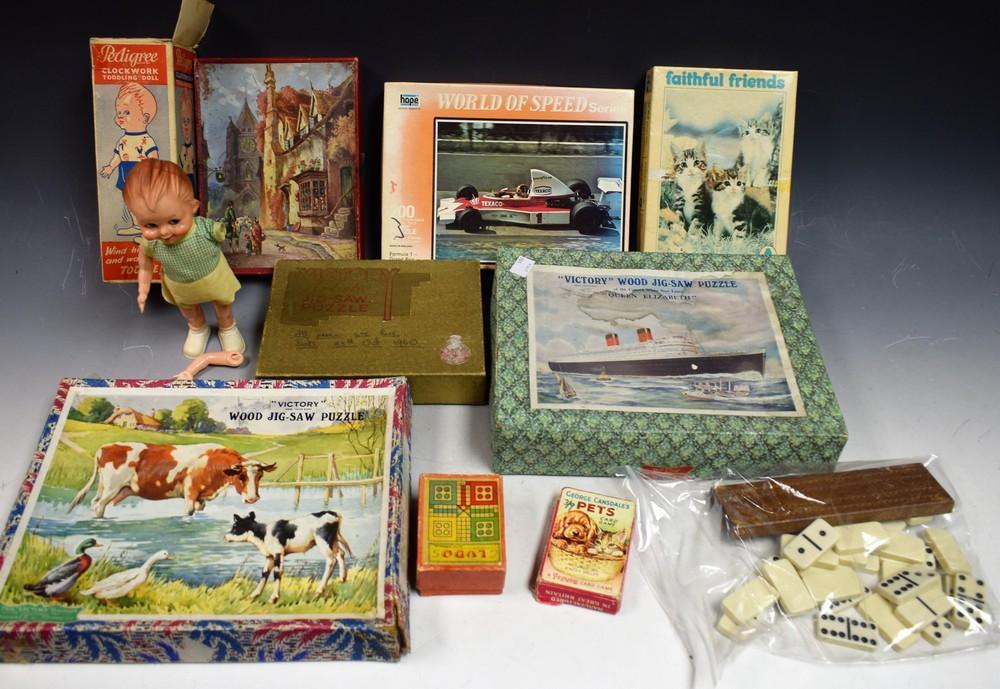 Lot 5049 - Toys and Juvenalia - a Victory Cunard Queen Elizabeth jigsaw, in original box; others, wooden,