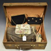 Ladies Accessories - a crocodile skin printed leather vanity case; a similar handbag;