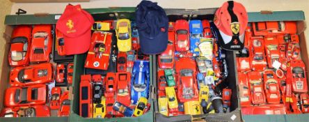 A collection of Ferrari die-cast model vehicles, including Burago, Maisto, Corgi, Hot Wheels,