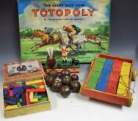Toys and Juvenalia - a Waddington's Totopoly horse racing game,