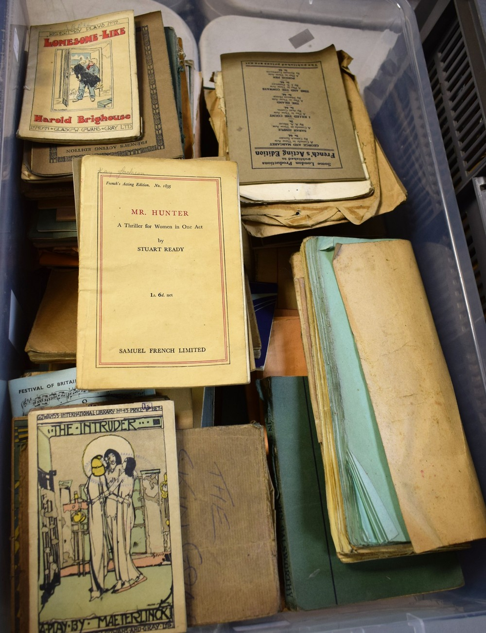 Lot 5060 - Theatre Interest - 1930's and later comic and other scripts including The Silver Box, The Intruder,