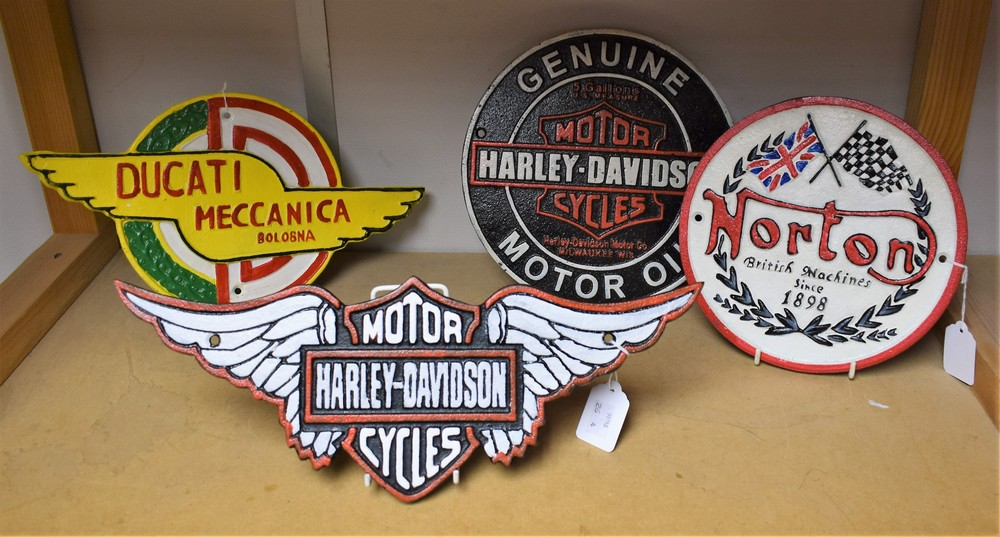 Lot 5039 - A reproduction cast metal advertising sign, Harley Davidson; another, similar; others,