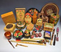 Treen - a collection of continental treen, including Austrian, Bulgarian, Hungarian,