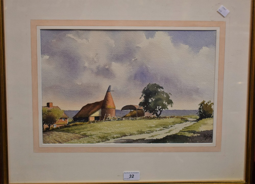 Lot 32 - R Campbell Smith Beale Farm near Biddenden monogrammed, signed to verso, watercolour, 26cm x 39.