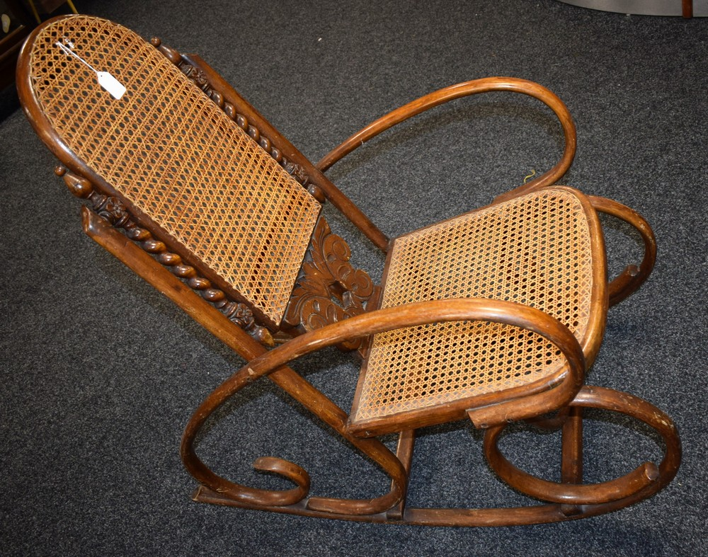 Lot 49 - An early 20th century bentwood rocking chair,