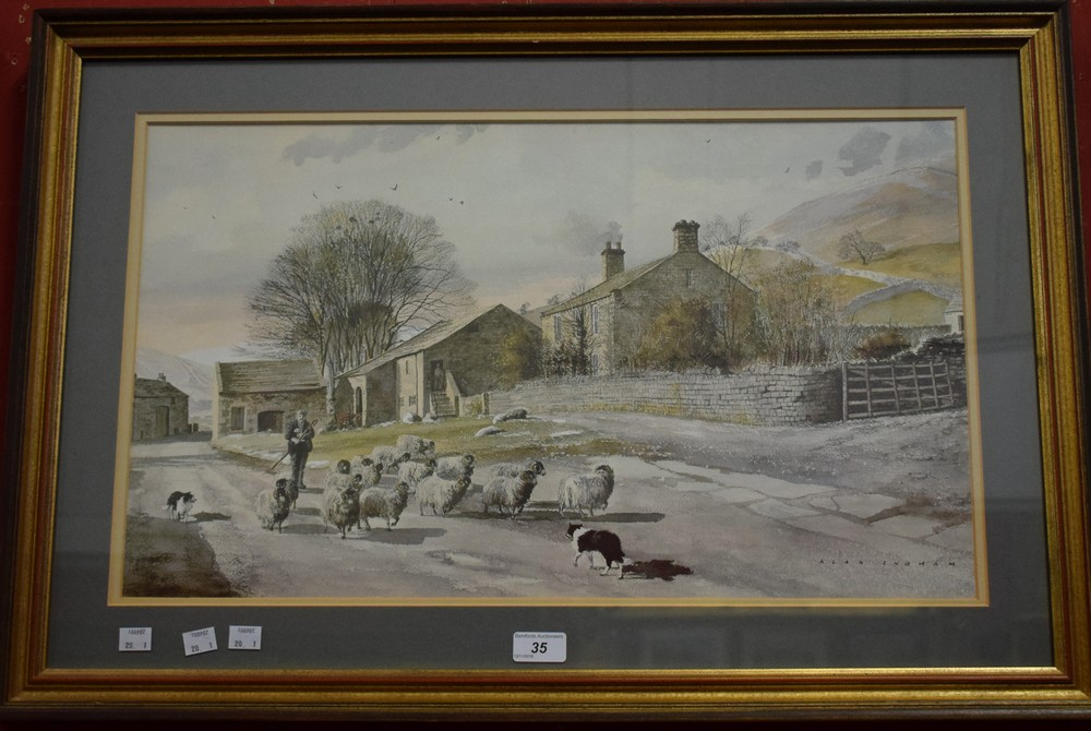 Lot 35 - Alan Ingram, after, A Country Lane, Shepherd with Sheep and Dog framed, 54.