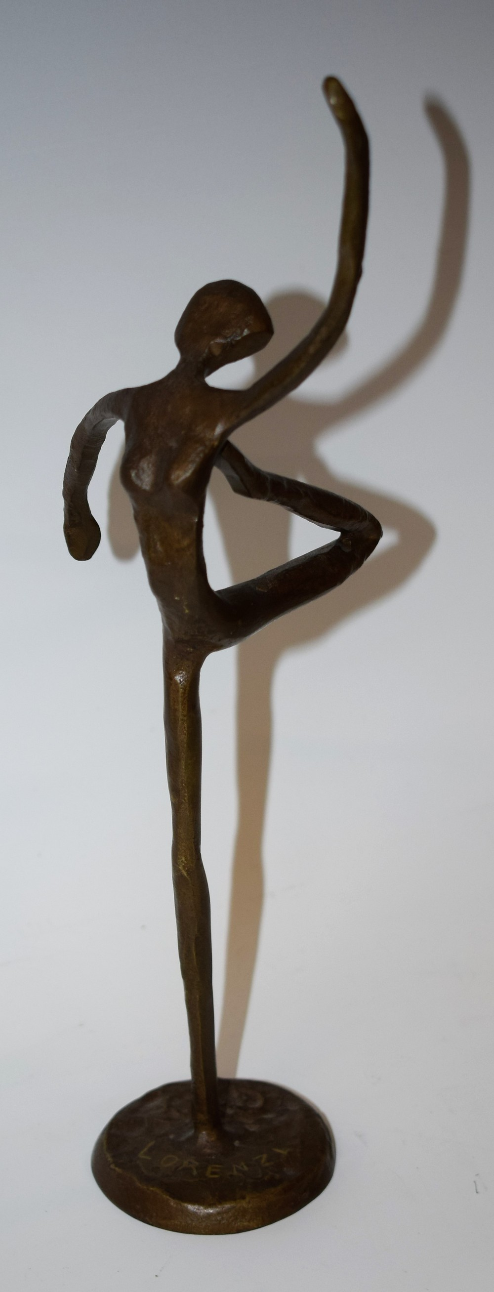 Lot 11 - A Hagenauer style bronze figure, Dancing Girl, moulded base, later marked Lorenzl,