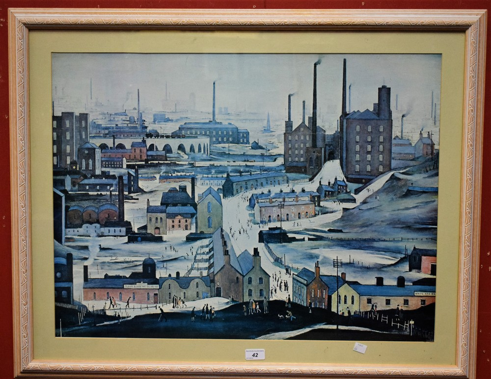 Lot 42 - After LS Lowry, Northern Town, a print, 55cm x 74cm,