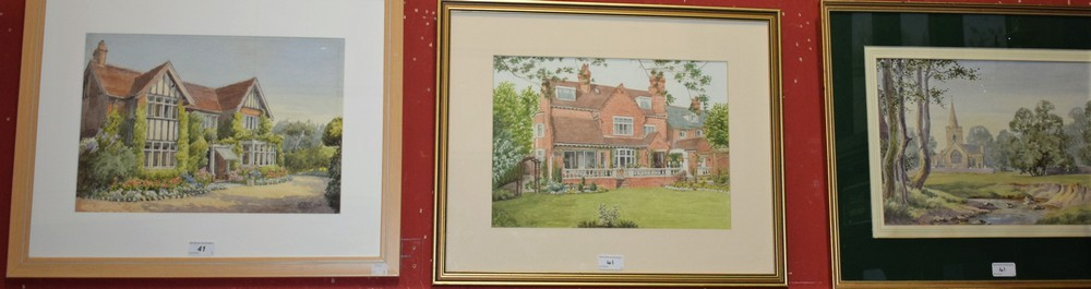 Lot 41 - Norah H Payne A pair, Linford Church and Spring Cottage each signed, approx 28cm x 36cm; another,