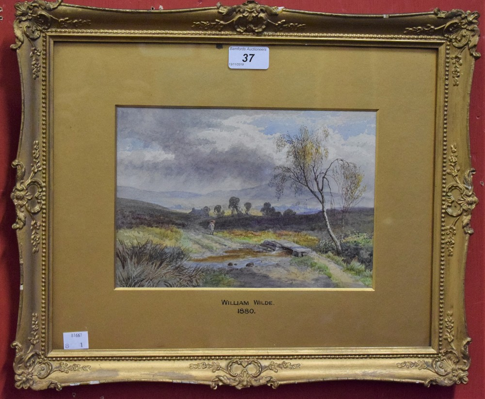 Lot 37 - William Wilde (1826-1901) Faggot Gathering signed, watercolour, dated 80,