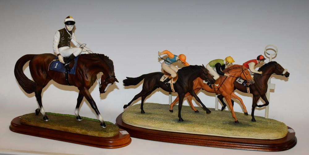 Lot 26 - A Border Fine Arts horse racing model, signed Geenty, monogrammed LJ, limited edition 134/250,