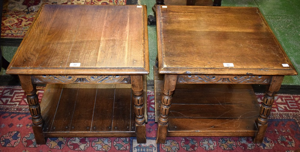 Lot 50 - A pair of 17th century style oak lamp tables,