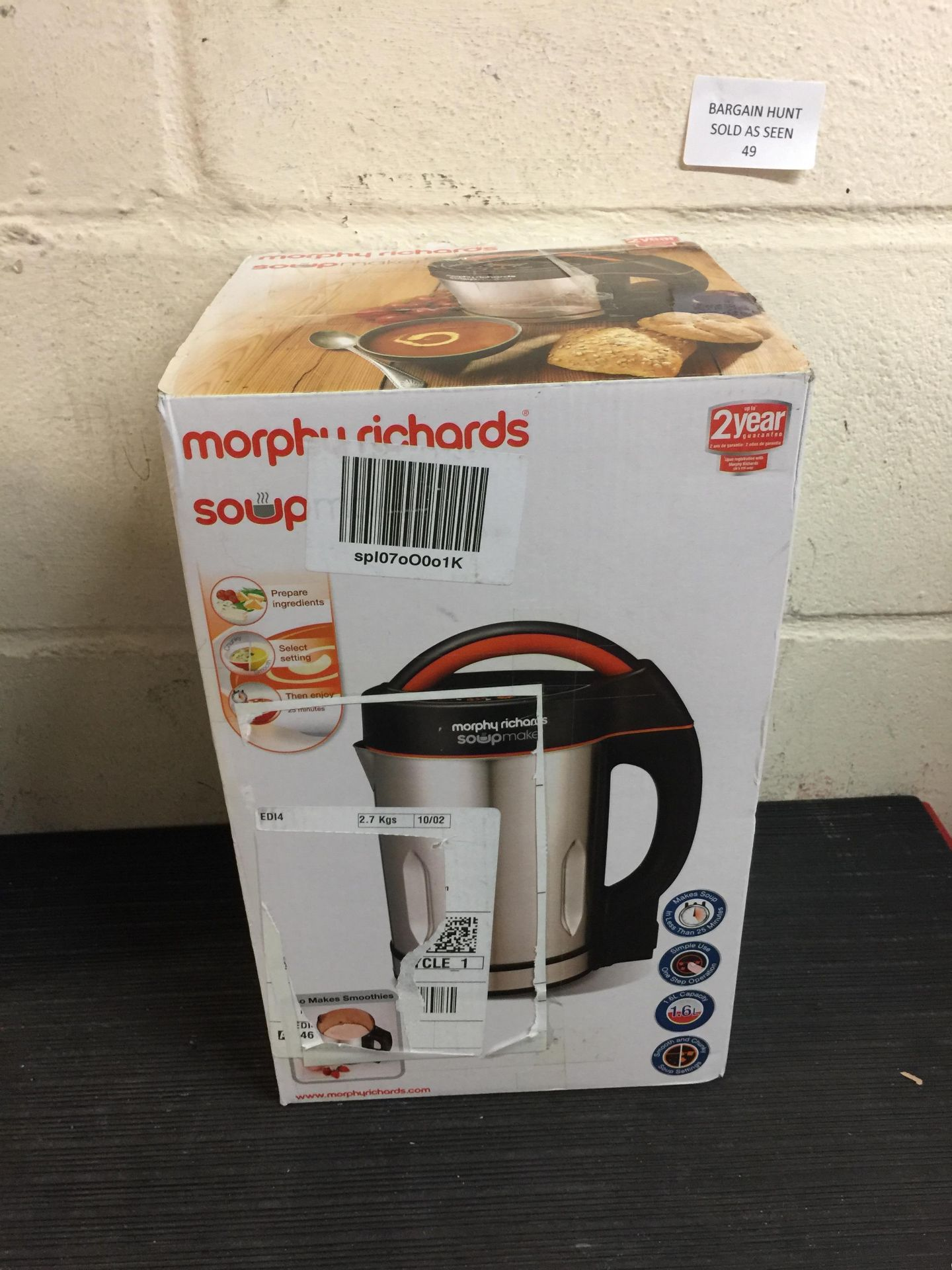 Lot 49 - Morphy Richards Soupmaker 48822 Stainless Steel Soup Maker
