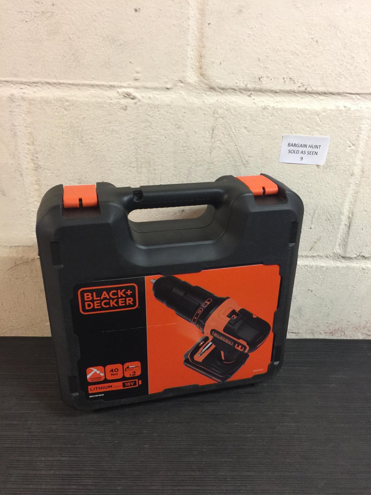Lot 9 - Black+Decker BDCHD18KB-QW Hammer/Driver Drill RRP £122.99