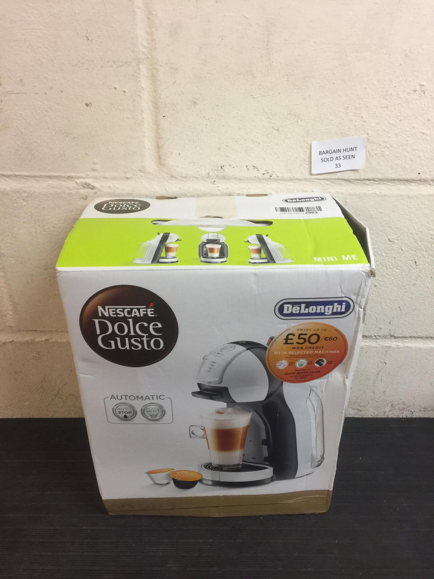 Lot 33 - Nescafé Dolce Gusto by De'Longhi Mini Me EDG305WB Pod Coffee Machine
