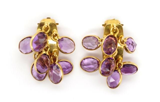 Lot 39 - Amethyst set gold ear clips