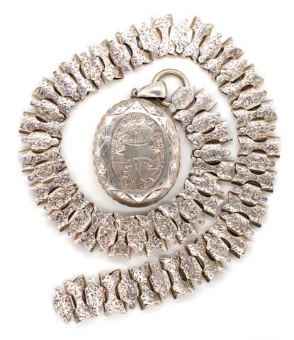 Lot 57 - Victorian silver locket and chain