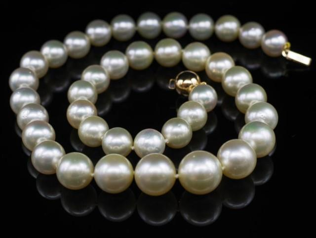 "Lot 56 - South sea ""light golden' pearl necklace"