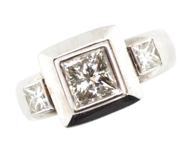 Lot 27 - Diamond trilogy set 18ct white gold ring