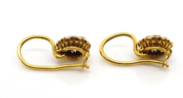 Lot 12 - Antique diamond and yellow gold cluster earrings