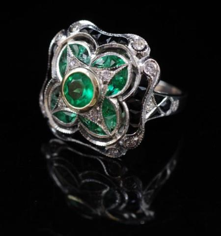 Lot 28 - Emerald, diamond and 18ct white gold ring,