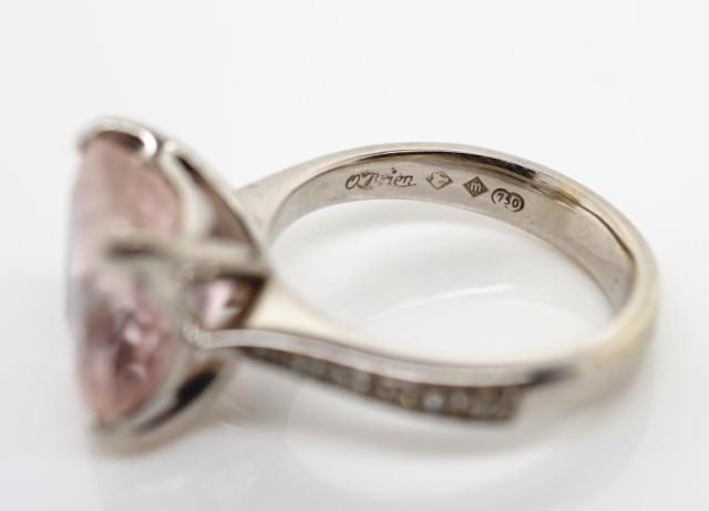 Lot 35 - 18ct white gold, diamond and pink gemstone ring