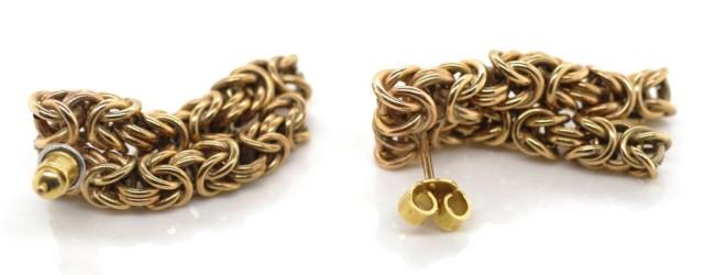 Lot 10 - Pair of rose gold Byzantine link earrings
