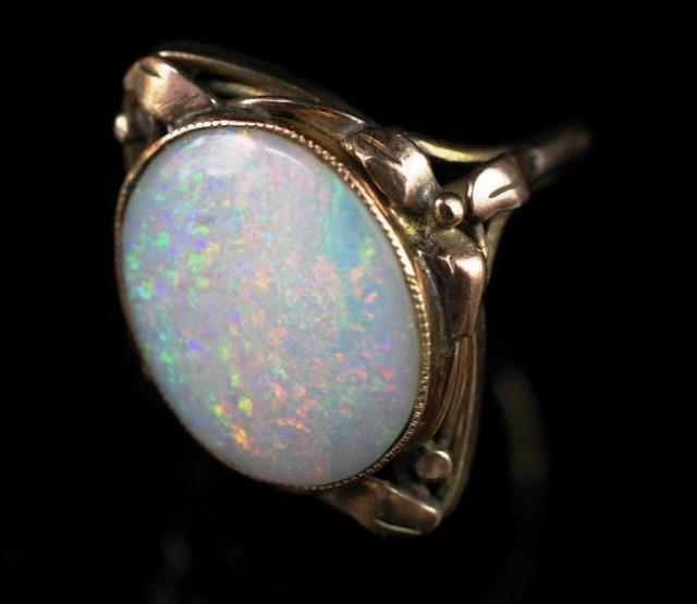 Lot 20 - Australian Arts & Crafts Opal and gold ring
