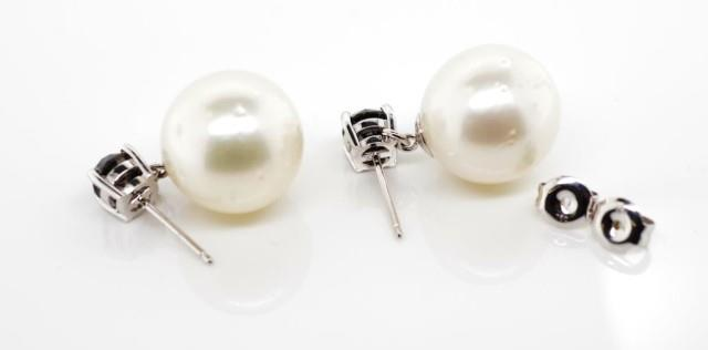 Lot 24 - South sea pearl and black diamond earrings