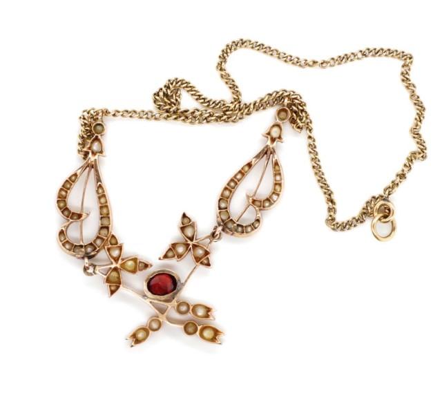 Lot 42 - Edwardian pearl and garnet set rose gold lavaliere