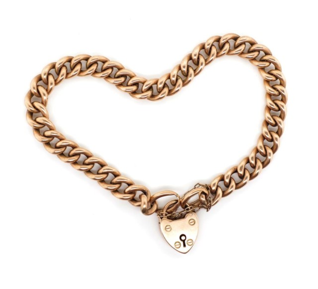 Lot 17 - Antique 9ct rose gold bracelet and heart padlock