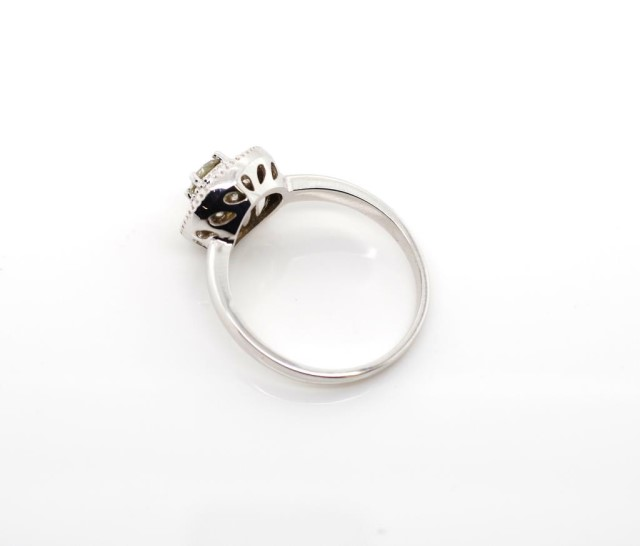 Lot 27 - Diamond and 14ct white gold halo ring