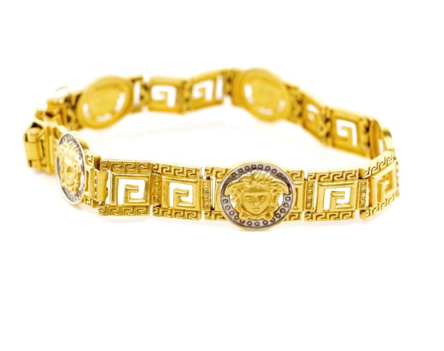 Lot 12 - 22ct yellow gold Medusa mask bracelet
