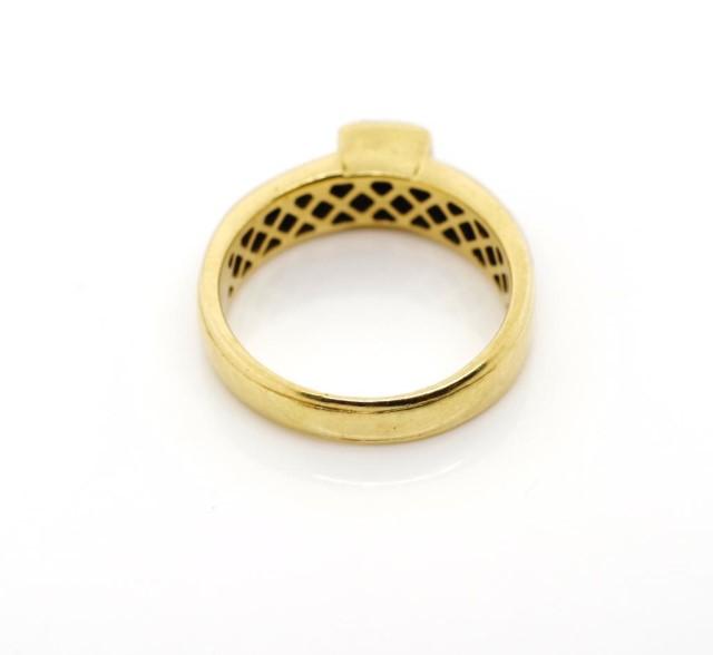 Lot 26 - Princes cut diamond set 18ct yellow gold ring