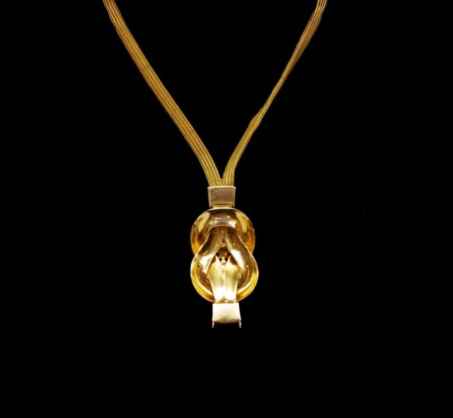 """Lot 4 - 18ct yellow gold """"reef knot"""" necklace"""