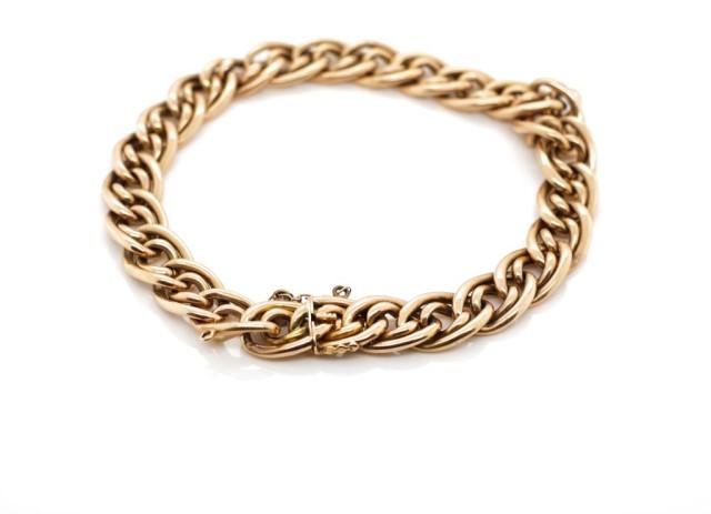 Lot 18 - Antique rose gold double curb link bracelet