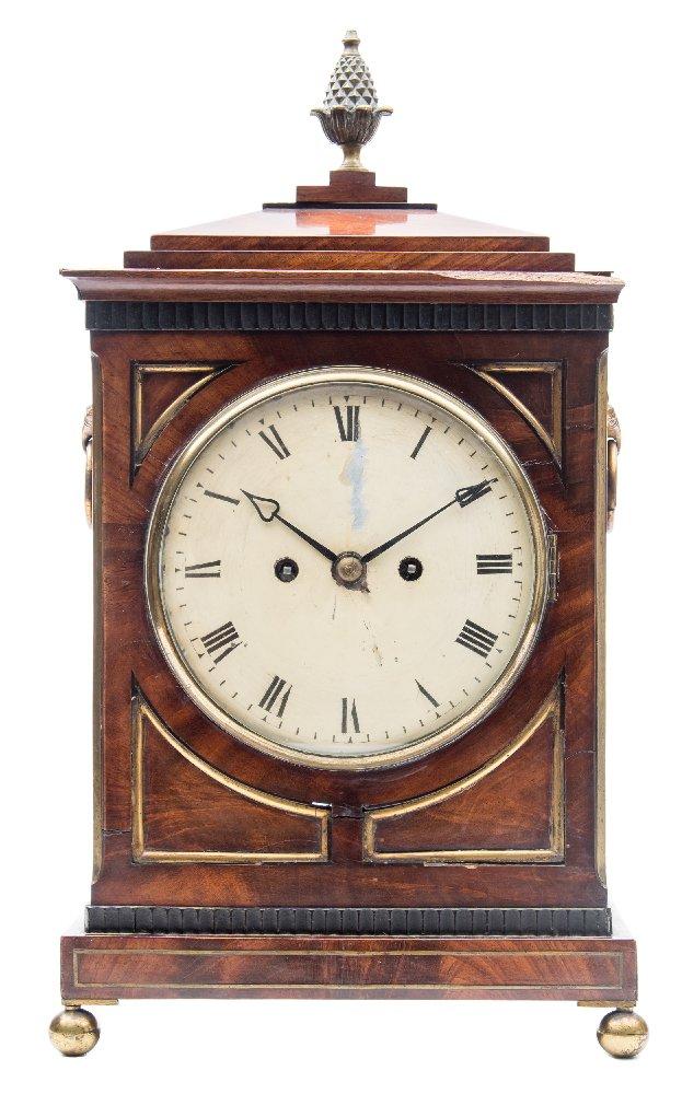 Lot 895 - A Regency mahogany bracket clock: the eight-day duration,
