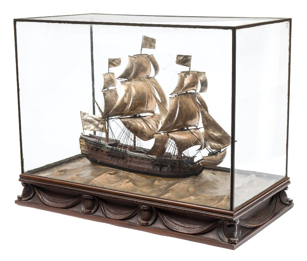 Lot 289 - A good early 20th century waterline model of HMS Victory in her first commission 1780,