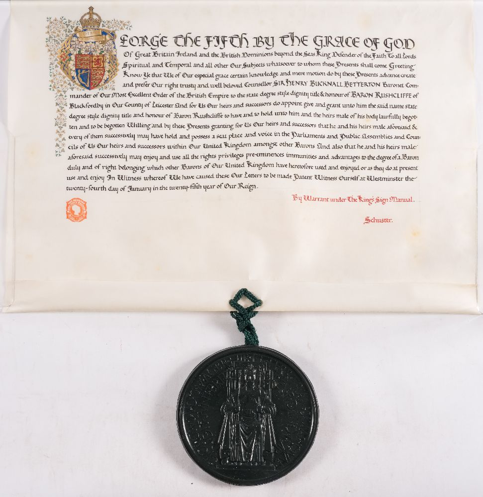 Lot 443 - GRANT OF ARMS : A vellum document with one large seal in fitted red morocco case with the cipher of