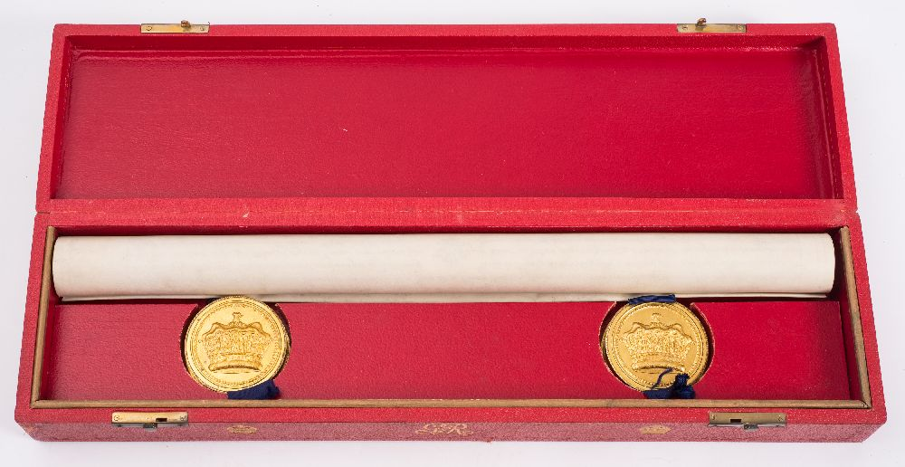 Lot 442 - GRANT OF ARMS : A large vellum document with two seals in fitted red morocco case with the cipher