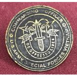 Vietnam War era interest US Army Special Forces beer can badge.