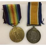 British WW1 medal duo; War and Victory medals.