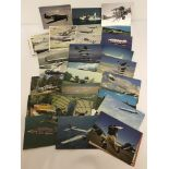 A collection of approx. 40 military and civilian aircraft postcards. C1960-70's.