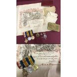 """WWI """"Old Contemptibles"""" medal trio together with related badges and paperwork."""